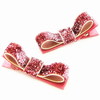 200pcs Free Shipping Rose Pink Holiday Hair Clips  Glitter Hair Bows  Sparkly Tuxedo