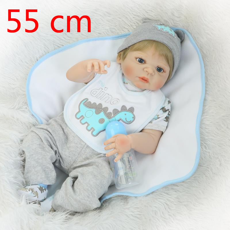 Wholesales New Arrival 55cm About 21 Full Silicone Reborn Baby Doll Bathe Kids babies Reborns Dolls child girl Christmas Gift
