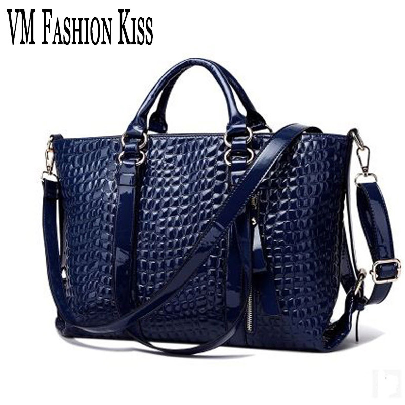 VM FASHION KISS Luxury Alligator Leisure Tote European And American Famous Handbags Ladies Shoulder Bags Italian Leather Bags