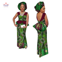BRW African women skirt sets africa fashion 2 piece set with headscarf 100% cotton wax skirts patchwork top and skirt WY1407