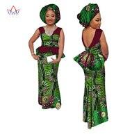BRW African Women Skirt Sets Africa Fashion 2 Piece Set With Headscarf 100 Cotton Wax Skirts
