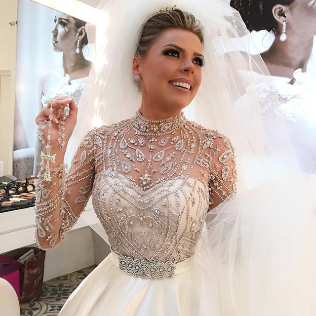 Soayle lujoso vestido de novia 2017 de cristal moldeado pesado ...
