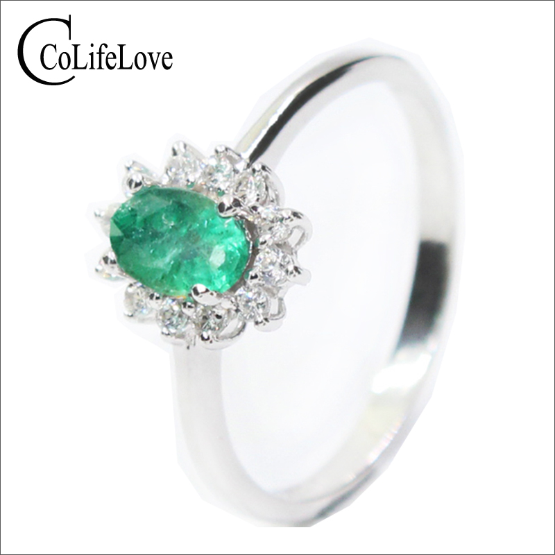 Classic Diana princess wedding ring natural emerald gemstone ring 4 6mm 0 5 ct emerald solid