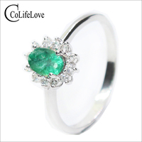 Classic Diana princess wedding ring natural emerald gemstone ring 4*6mm 0.5 ct emerald solid 925 sterling silver emerald jewelry