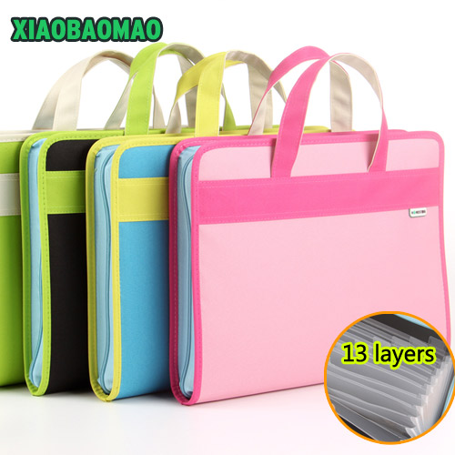 Thickened Handle + Zipper +13 Layered! 28.5X35.5X4cm Oxford Cloth Expanding File Folder Organ Bag A4 Organizer Paper Holder