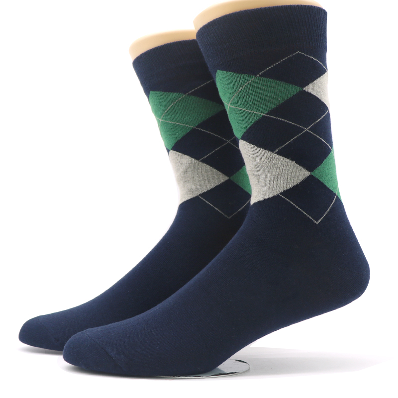 1pair Warm Mens Socks Casual Rhombus Prints Cotton Socks Breathable Business Male Dress Socks Calcetines Hombre Autumn Winter