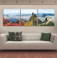 3 pieces Modern  Canvas Prints Landscape The Great Wall Printing Picture For Home Decoration painting