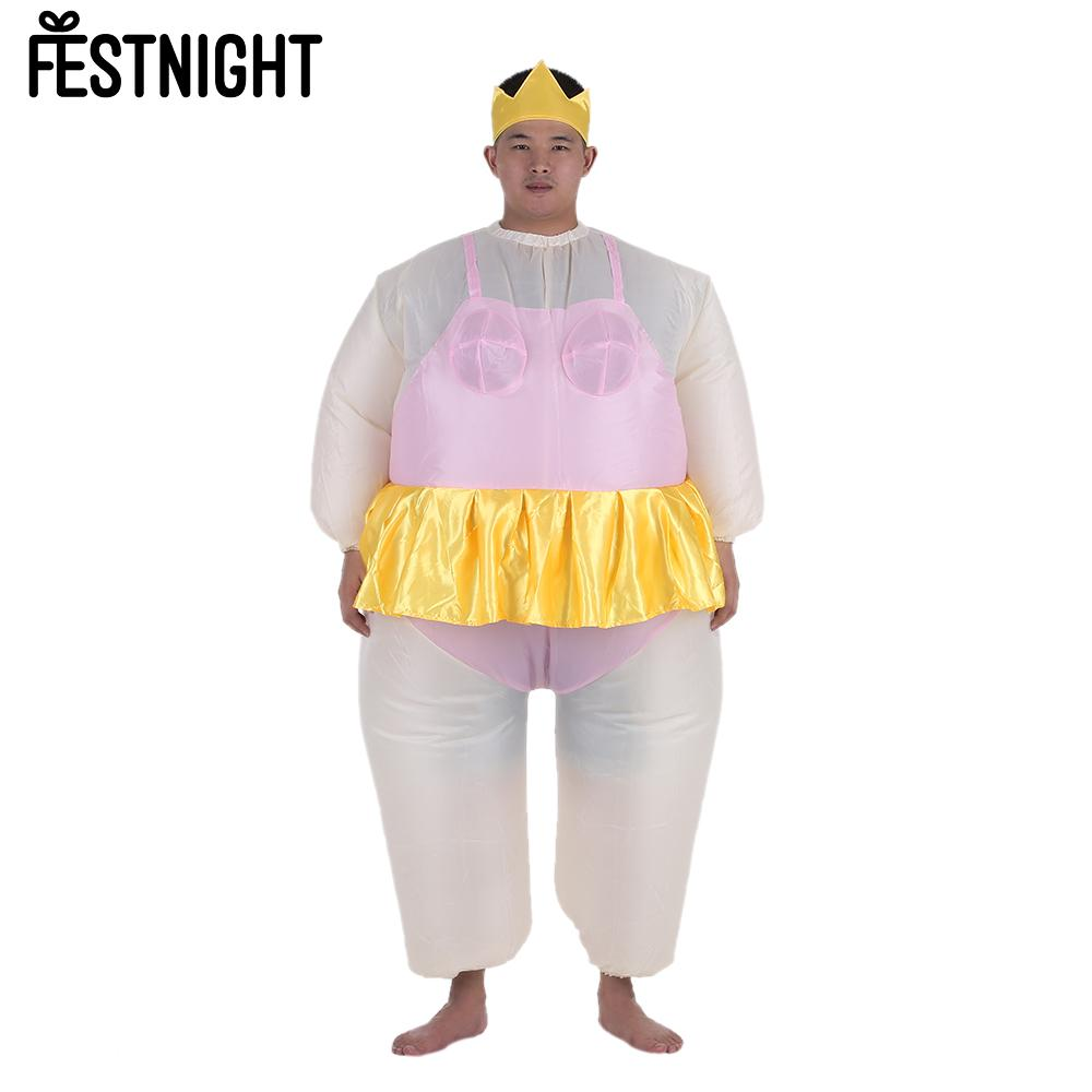 cute adult inflatable ballerina costume fat suit for womenmen air fan operated blow up halloween party fancy jumpsuit outfit - Halloween Costume For Fat People