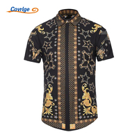 Covrlge New Arrival 2018 Summer Black Gold Mens Shirts Casual Slim Fit Shirt Men Short Sleeve
