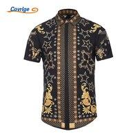 Covrlge New Arrival 2018 Summer Black Gold Mens Shirts Casual Slim Fit Shirt Men Short Sleeve