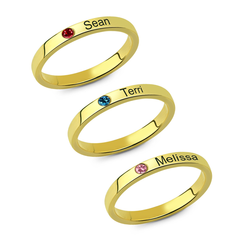 Personalized Birthstone Engraved Name Ring Gold Color Family Stackable Ring for Mother ailin engraved family tree birthstone ring cage ring family ring for mom eternity ring rose gold color