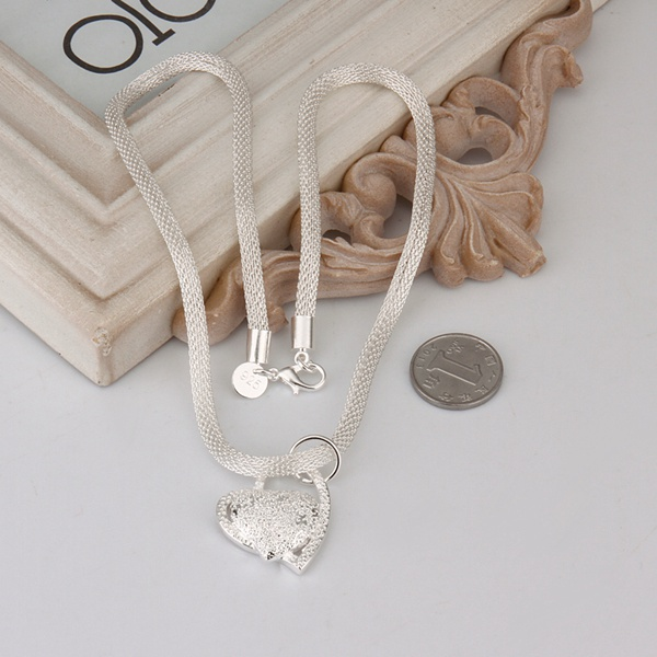 silver color gorgeous charm fashion charm heart wedding lady love necklace noble luxury 18 inches Silver jewelry , N270 6