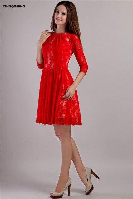 € 104.72 |Rojo Encaje manga tres cuartos Niñas Vestidos de cóctel elegante  vestido de cóctel corto rodilla longitud formal vestido de fiesta ...