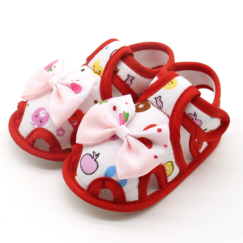 Newborns Baby Girls Cute First Walkers Shoes Bow-knot Printed Princess Style Breathable Shoes Prewalkers 0-18M