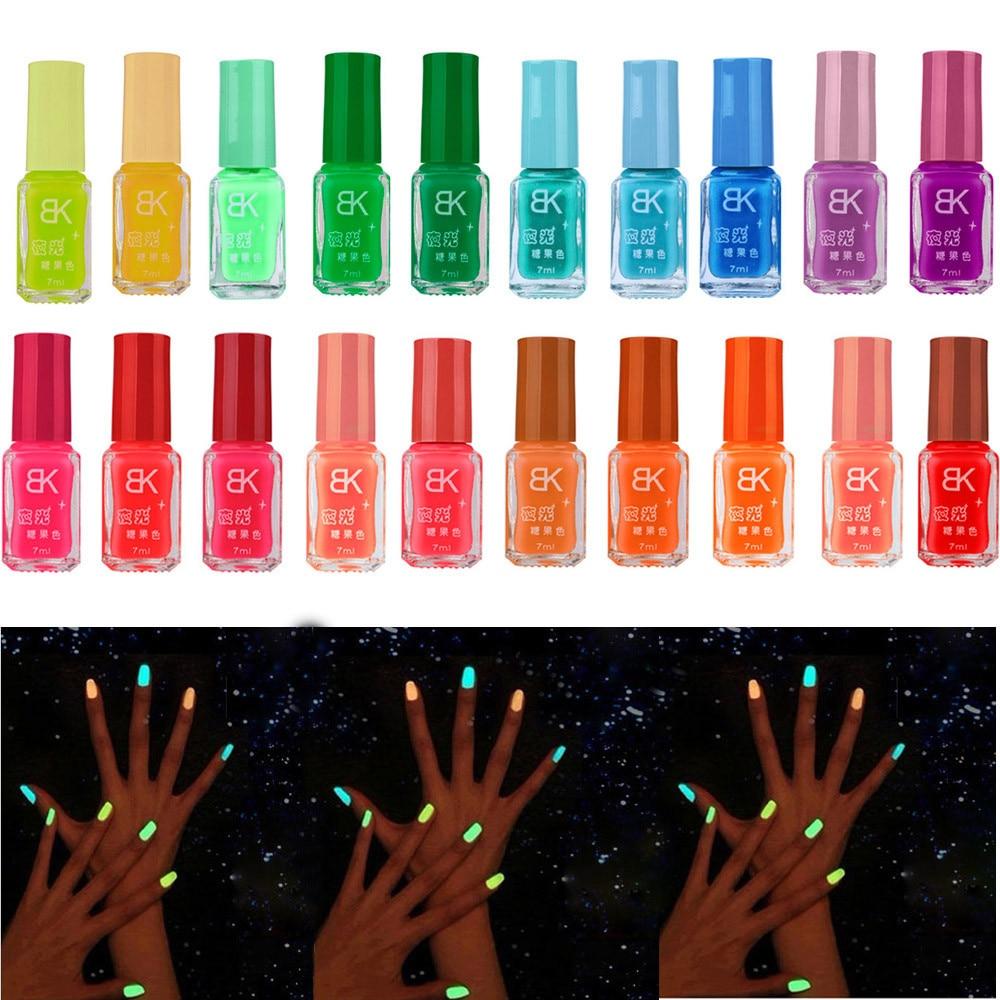 1PC Nail Polish 20 colors series of Fluorescent Neon Luminous Gel Nail Polish 7ml for Glow in Dark Nail Varnish for Nail Art