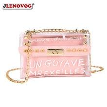 цена на Womens Candy Color PVC Transparent Crossbody Bag 2pcs sets Rivets Letter Print Messenger Bags Fashion Girls Clear Chain Tote bag