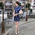 Темно-Синий Традиционный Китайский Классический Dress женская Атласная Мини Qipao Летом Sexy Vintage Cheongsam Цветок Размер Sml XL XXL 3XL
