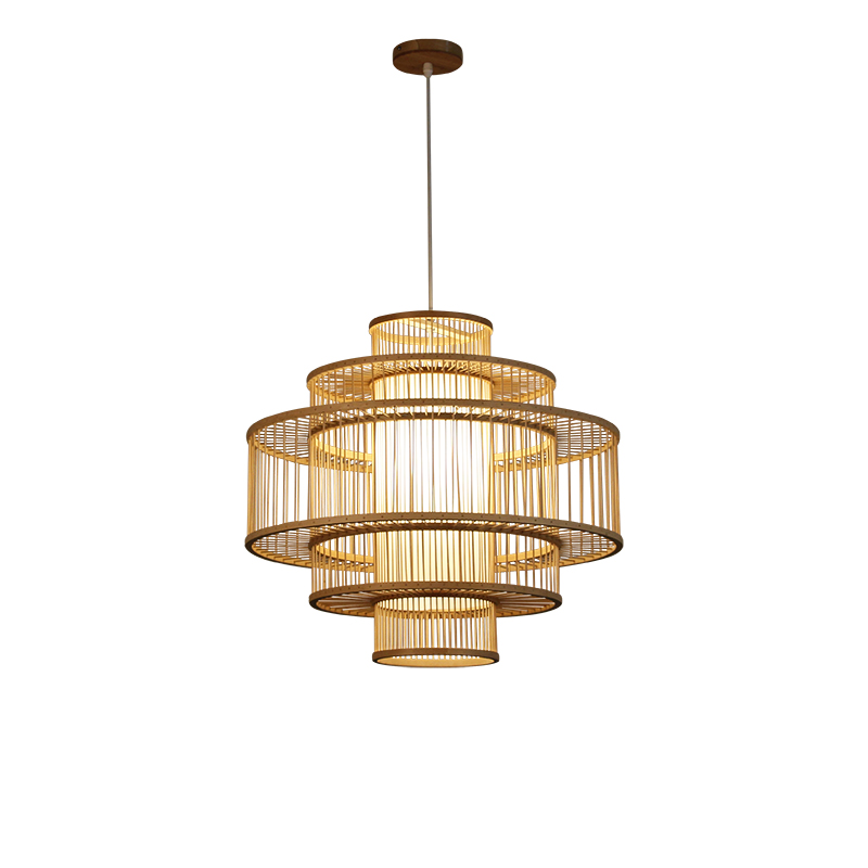 Chinese Multilayer pendant lamp living room Bamboo and Wood lights Southeast Hotel Restaurant lighting decor fixtures