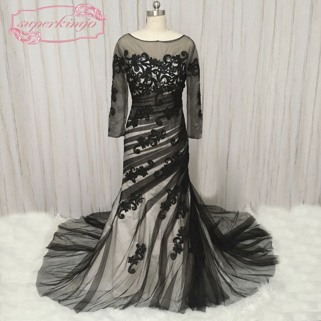 SuperKimJo Black and White Evening Dresses 2018 Lace Applique ...