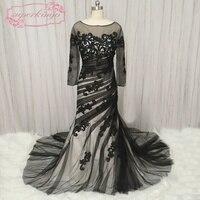 SuperKimJo Black and White Evening Dresses 2018 Lace Applique Mermaid Modest Evening Gown Plus Size Vestido De Festa