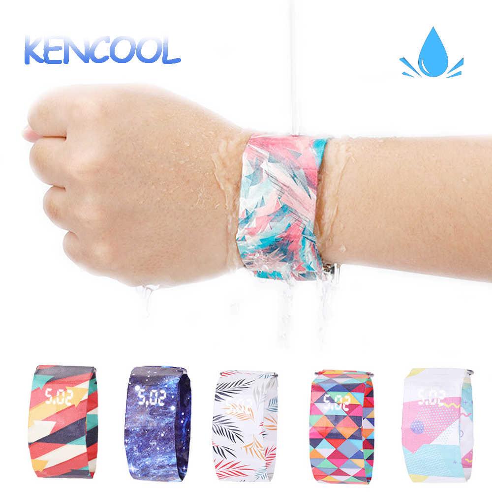 Tahan Air Jam Tangan Kencool Kasual Colorful LED Pergelangan Tangan Digital Paper Watch Super Ringan Tahan Lama dengan Magnetic untuk Anak-anak Pria Wanita