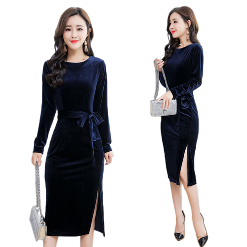 f0b8f54ae TingYiLi Autumn Winter Party Dress Elegant Women Bodycon Dress Black Blue Long  Sleeve Midi Dress