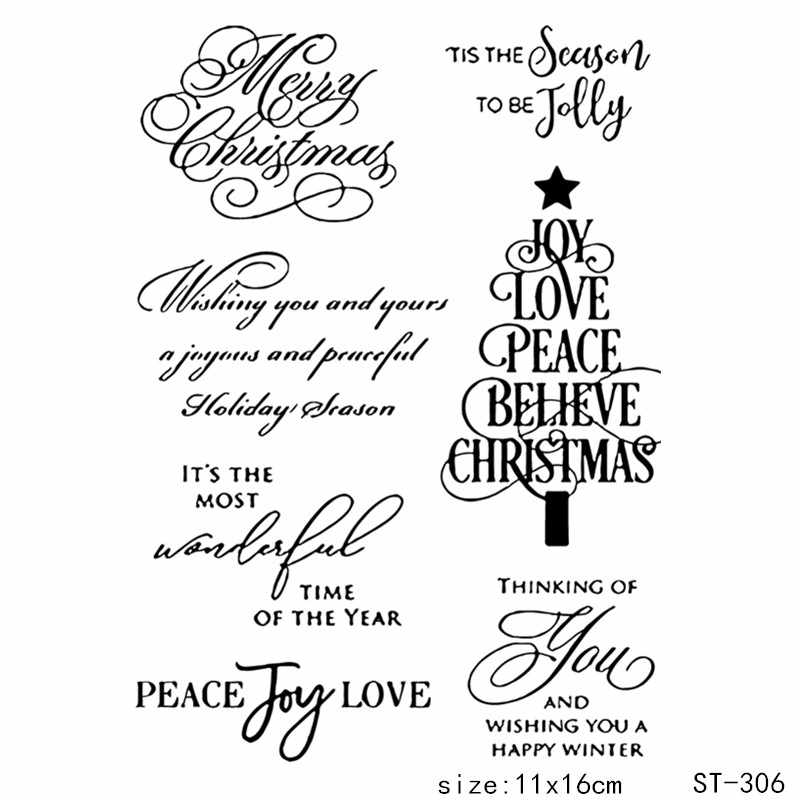 ZhuoAng Graceful Handwriting Christmas Tree Clear Stamps For DIY Scrapbooking/Card Making/Album Decorative Silicon Stamp Crafts
