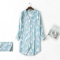 Autumn fresh Sky blue rabbit 100% cotton women nightdress long sleeves cute women sleepwear casual nightwear chemise sleepshirts