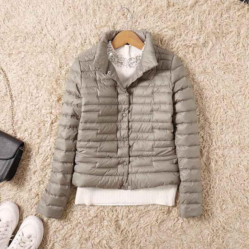 2019 Spring Winter Short Thin   Down   Jackets Women Lady Ultra Light Parka Outerwear Female 90% White Duck   Down     Coat