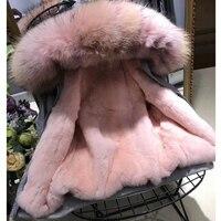 Парка зимняя куртка Женская куртка парка Настоящее мех пальто большой натуральный теплый Лох енота меховой воротник с капюшоном Кролик Мех