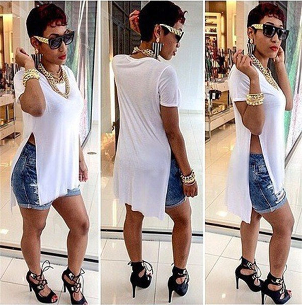 9466dc5b5 T Shirt Femme 2015 New Fashion Sexy Women Long Tops Side Split Shirt Summer  Casual White Tee Shirts Desigual Clothing Plus Size-in Dresses from Women s  ...