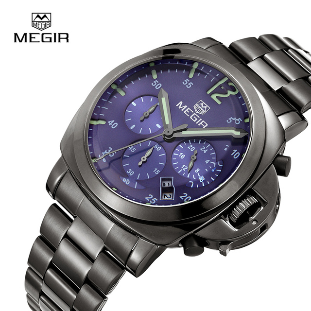 dc7c4ab307b MEGIR Chronograph Men Watch Top Brand Luxury Relogio Masculino Watches  Clock Men Stainless Steel 3006 Quartz Wristwatches