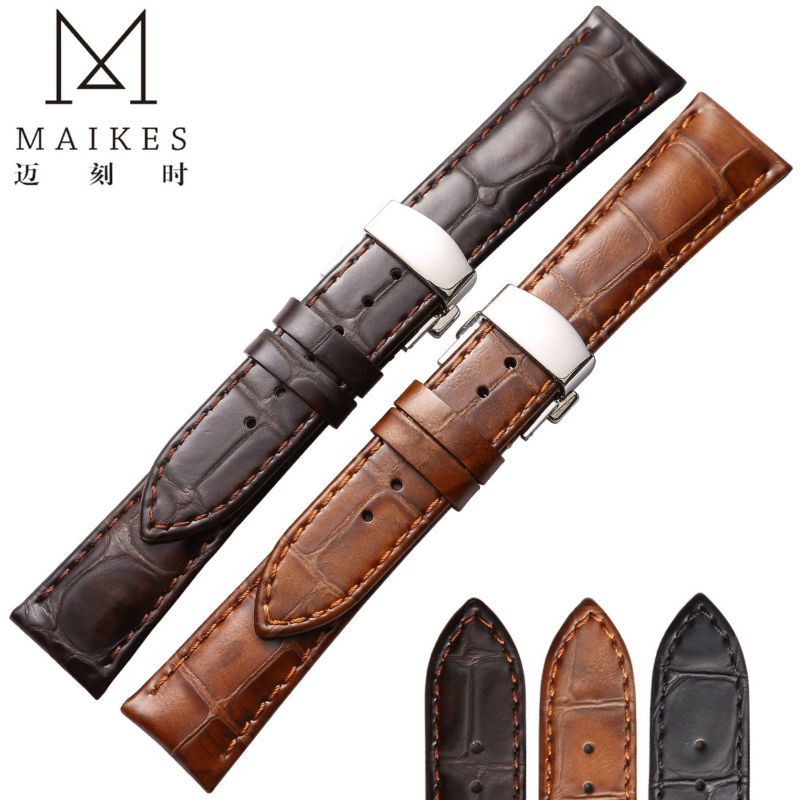 MAIKES High Quality Genuine Leather Watch Band 18mm 20mm 22mm Butterfly Buckle Calf Leather Watch Strap