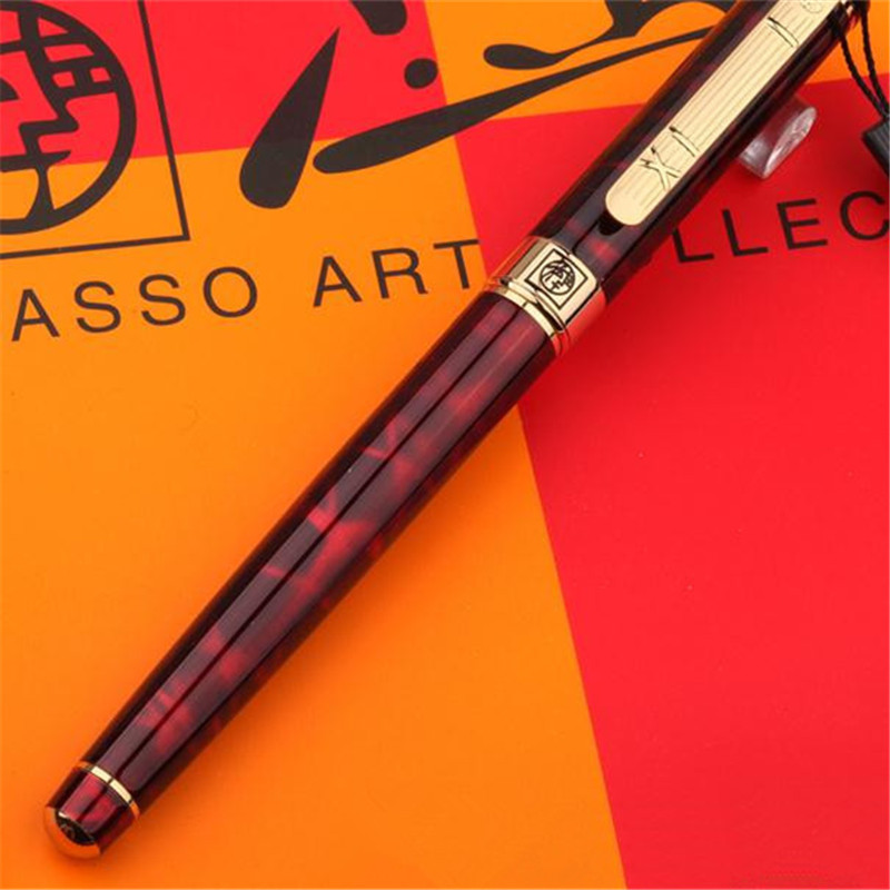 1pc/lot Red Pen Gold Clip Picasso 902 Fountain Pen Pimio Canetas Picasso 902 High Quality School Supplies Stationery 13.6*1.3cm parker 88 maroon lacquer gt fine point fountain pen