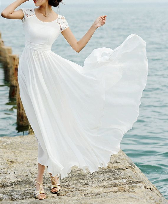Simple Elegant Modest Lace Wedding Dress With Scallop Lace: Aliexpress.com : Buy Sexy Scalloped Lace Chiffon Ankle