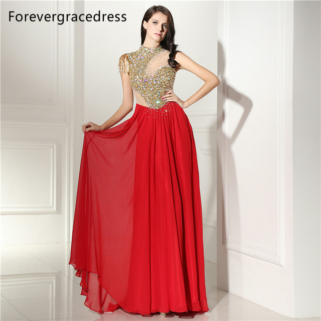 Forevergracedress Sexy High Neck Prom Dress A Line Beaded Crystals Chiffon Long  Formal Party Gown Plus Size Custom Made 95aa06b24f47