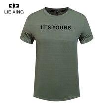 LIEXING Quick Drying Gym Tshirt Brethable Basketball Football Training T shirt High Stretch Fitness Running Short Sportswear