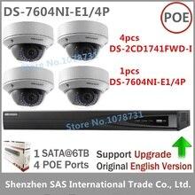 Наблюдения Наборы Hikvision DS-7604NI-E1/4 P встроенный plug & play NVR + Hikvision DS-2CD1741FWD-I 4MP IP Камера переменным фокусное расстояние 2.8-12 мм