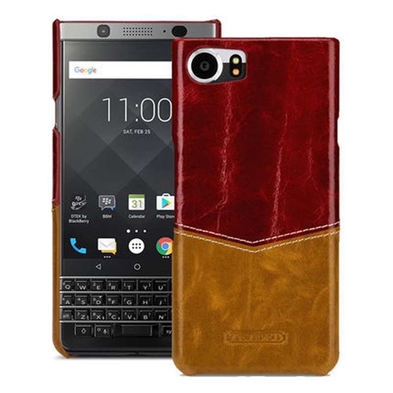For Blackberry KEYone Case Ultra thin Back Phone Shell Luxury Genuine Cow Leather Bag for Black