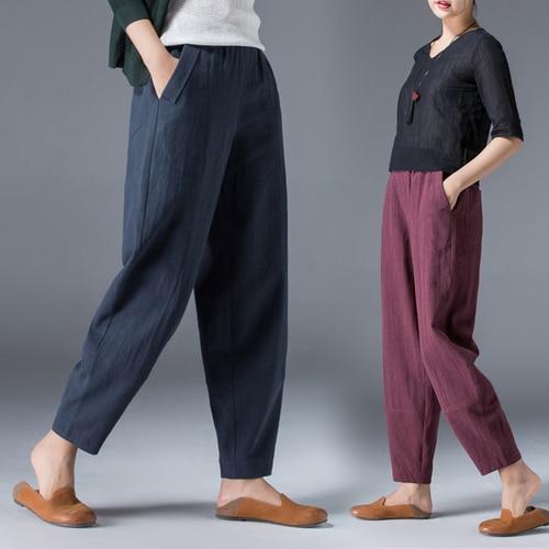Large Big Size Cotton Hemp Harem   Pants   Casual Women's Trousers Palazzo   Pants   Retro   Capris   Pantalon Ladies Breeches Pantalon