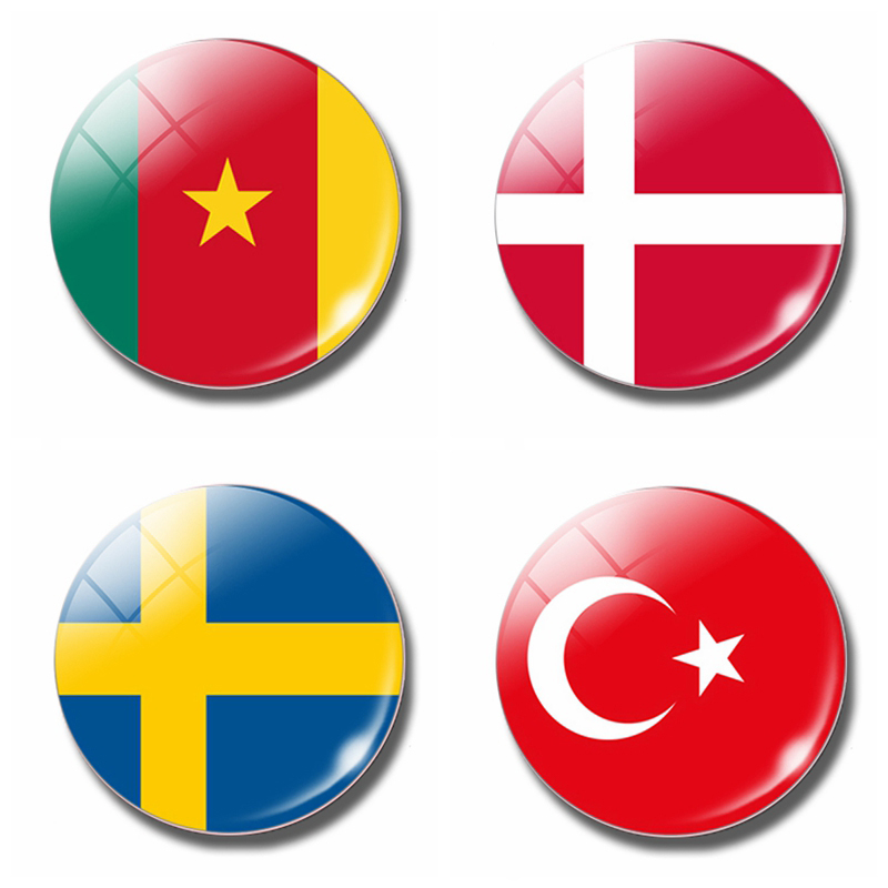 Дания, Камерун, Швеция, Турция, флаг 30 мм, магнит на холодильник, стеклянный купол, магнитные наклейки на холодильник, держатель для заметок, домашний декор