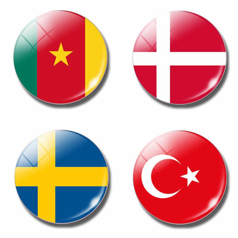 Danemark cameroun suède turquie turquie drapeau 30 MM réfrigérateur aimant verre dôme magnétique réfrigérateur autocollants porte-notes décor à la maison