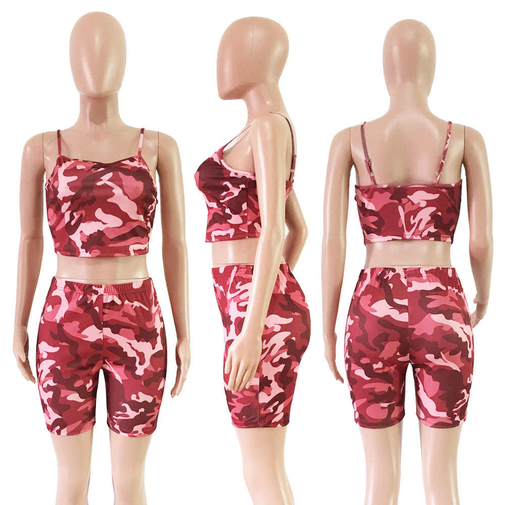 8356f6a1be3f ... 2019 Summer New Hot Camouflage Shorts + Cropped Tops Women Casual 2  Piece Set Plus Size