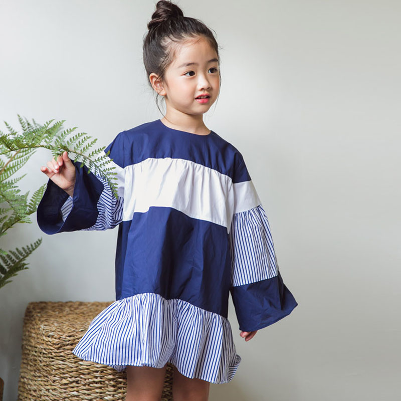 cotton teenage girls baby dress long sleeve clothing autumn blue white striped ruffles loose dress girls 2017 fall kids clothes warm thicken baby rompers long sleeve organic cotton autumn