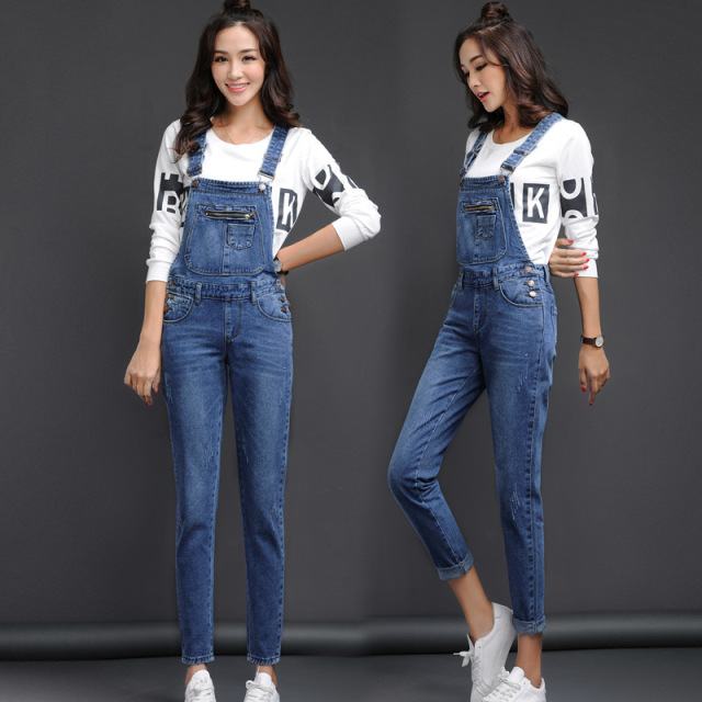 official photos discount collection best quality for Lguc.H Classic Denim Overalls Woman 2018 Jean Jumper Female ...