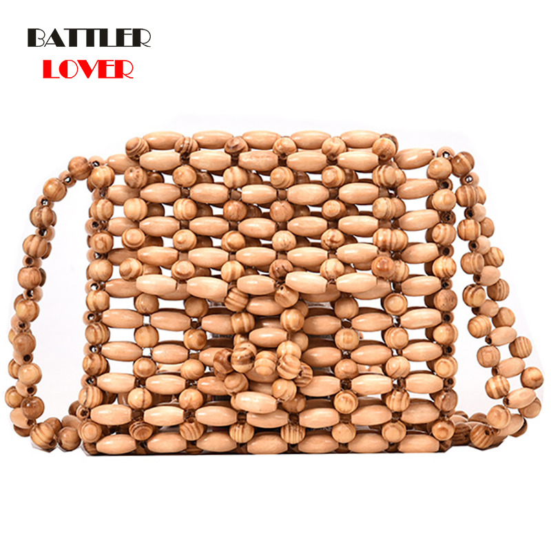 Womens <font><b>Bead</b></font> <font><b>Wood</b></font> <font><b>Bag</b></font> High Quality Designer <font><b>Wood</b></font> Fashion Crossbody Shoulder <font><b>Bag</b></font> Women Summer 2019 Beach Flap Ladies Messenger <font><b>bag</b></font> image