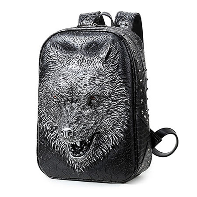 3D Printing Wolf Women Backpacks Men PU Leather Backpack School Bags For Teenagers Backpack Brands Designer Large Capacity Bags brands leather school backpacks for boys black fashion designer school bags hooded travel men backpack rainproof luggage new
