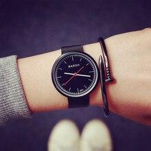 Fashion Brand Black Weave Strap Steel Shockproof Quartz Women' Men' Students' Watch Wristwatch Hours Clock OP001