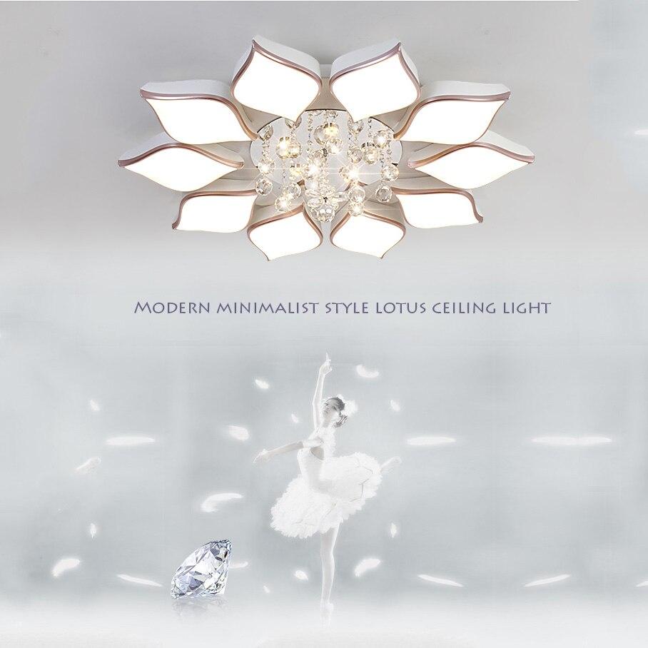 Modernen Minimalistischen Stil Kreative Lotus Deckenleuchten Lampe Kristall Acryl Schatten Wohnzimmer Schlafzimmer Fhrte Hngen Leuchten