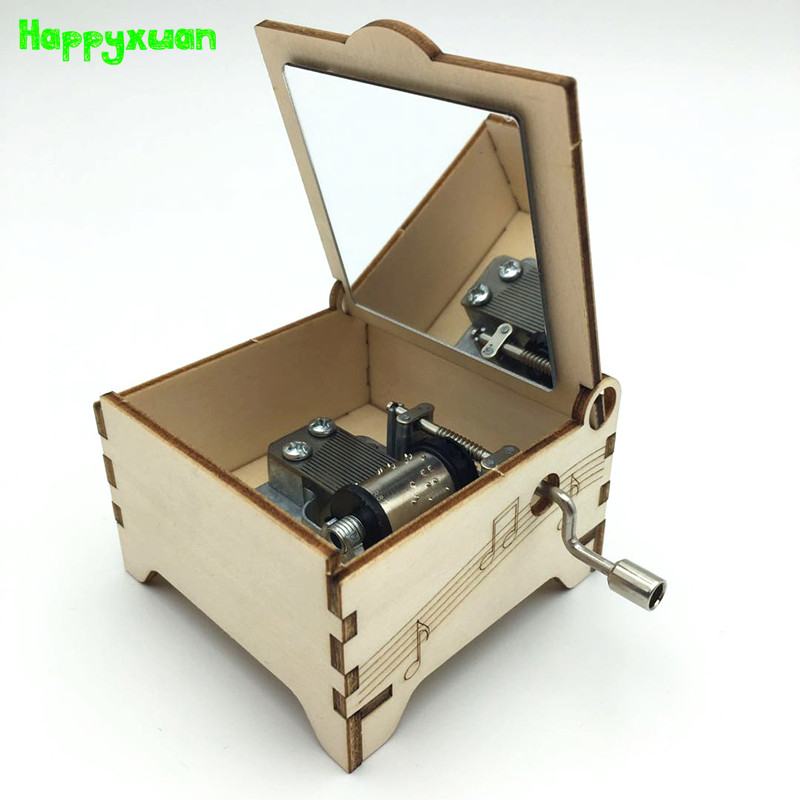Happyxuan 2-in-1 STEAM DIY Science Inventions Mini Carved Wooden Music Box Hand Crank Kids Explore Kit STEM Learning Educational